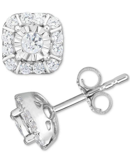 Macy's - Metallic Diamond Square Cluster Stud Earrings (1/2 Ct. T.w.) In 14k White Gold - Lyst