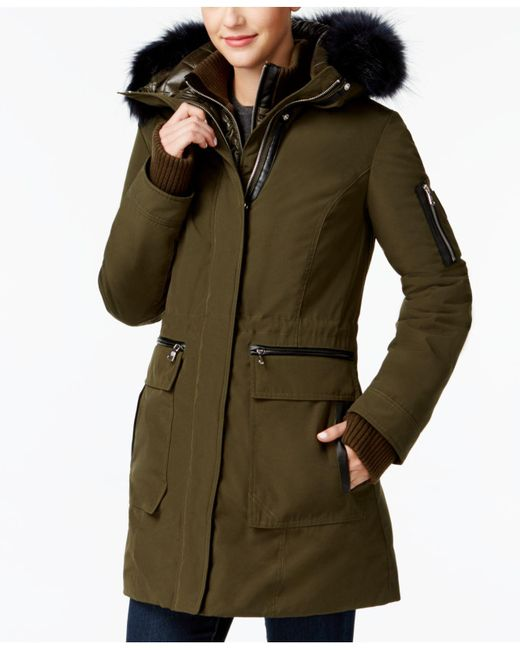 Vince Camuto | Green Mixed-media Layered Parka | Lyst