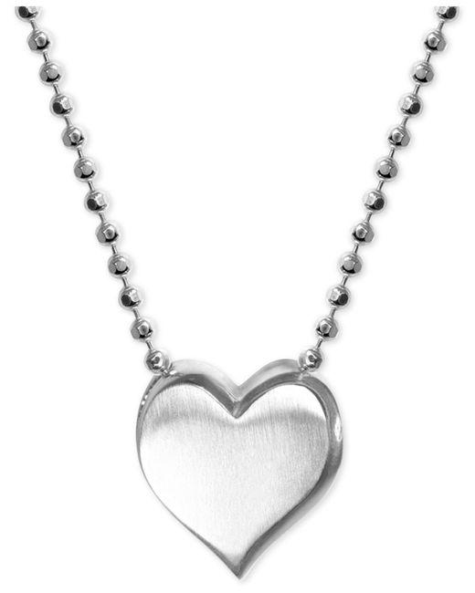Alex Woo - Metallic Heart Pendant Necklace In Sterling Silver - Lyst