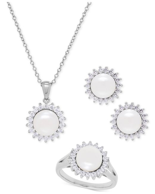 Macy's | Metallic Cultured Freshwater Pearl (8mm) And Swarovski Cubic Zirconia Jewelry Set In Sterling Silver | Lyst
