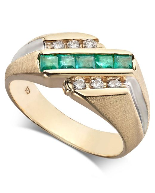 Macy's - Metallic Emerald (3/4 Ct. T.w.) & Diamond (1/4 Ct. T.w.) Ring In 14k Gold - Lyst