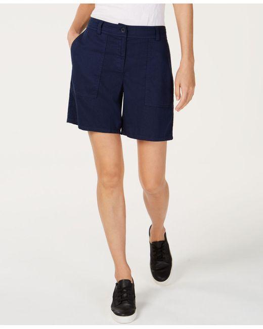 Eileen Fisher - Blue Organic Cotton Walking Shorts - Lyst