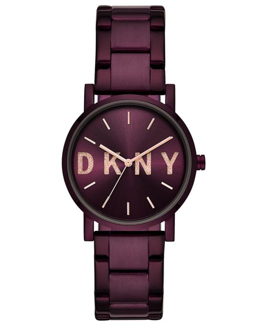 DKNY Soho Port Purple Stainless Steel Bracelet Watch 34mm, Created For Macy's