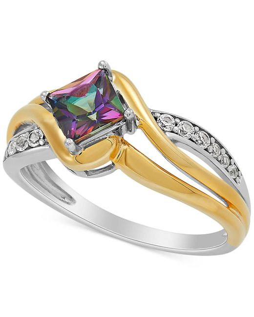 Macy's Metallic Mystic Fire Topaz (7/8 Ct. T.w.) & Lab-created White Sapphire (1/6 Ct. T.w.) Ring In Sterling Silver & 14k Gold-plate