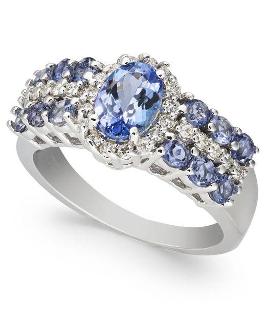 Macy's Multicolor Tanzanite (1-7/8 Ct. T.w.) & Diamond (1/4ct. T.w.) Ring In 10k White Gold