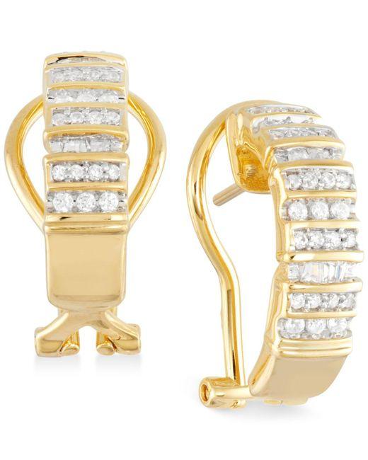 Macy's - Metallic Diamond Semi-hoop Earrings (1/2 Ct. T.w.) In 14k Gold Over Sterling Silver - Lyst