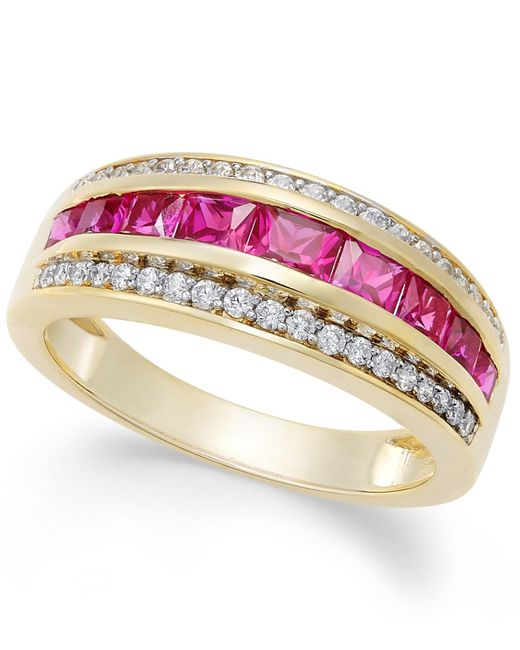 Macy's - Red Sapphire (1-1/10 Ct. T.w.) & Diamond (1/6 Ct. T.w.) Ring In 14k Gold (also Emerald And Ruby) - Lyst