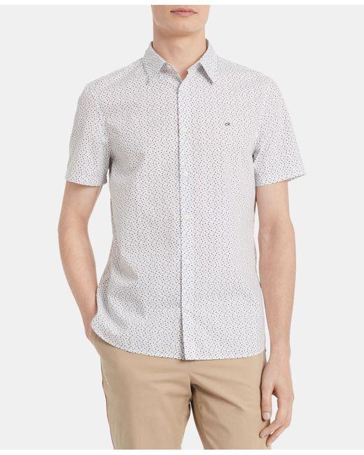 Calvin Klein White Classic-fit Dot-print Shirt for men