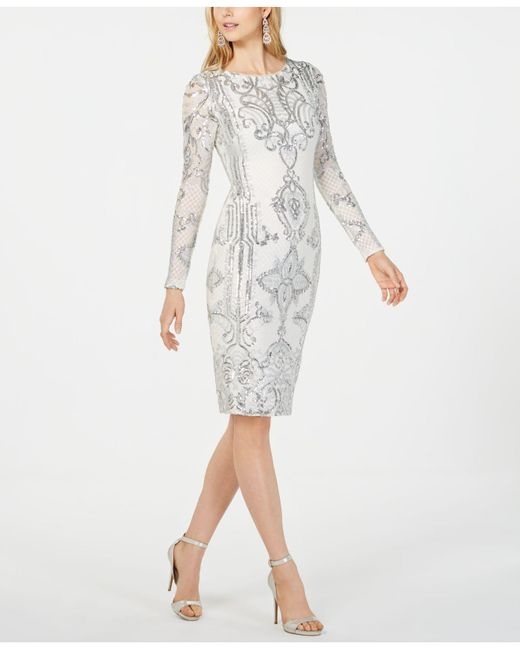 91a4b7127d Betsy   Adam Petite Embroidered Sheath Dress in White - Lyst