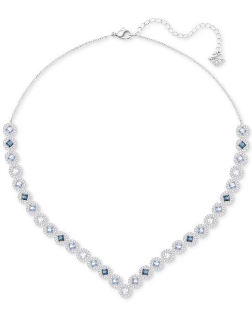 Swarovski | Blue Silver-tone Halo Crystal V Collar Necklace | Lyst