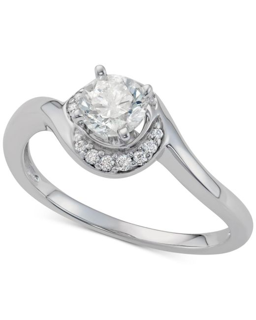 Macy's - Multicolor Diamond Crescent Halo Engagement Ring (5/8 Ct. T.w.) In 14k White Gold - Lyst