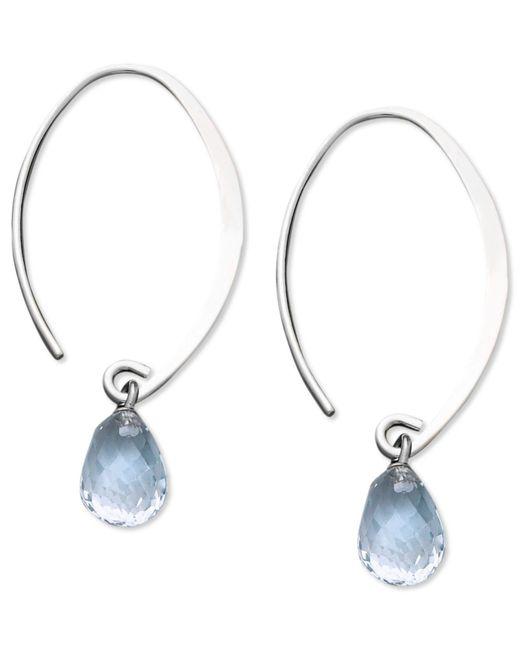 Macy's - 14k White Gold Earrings, Aquamarine Brio Hoop Earrings (3 Ct. T.w.) - Lyst