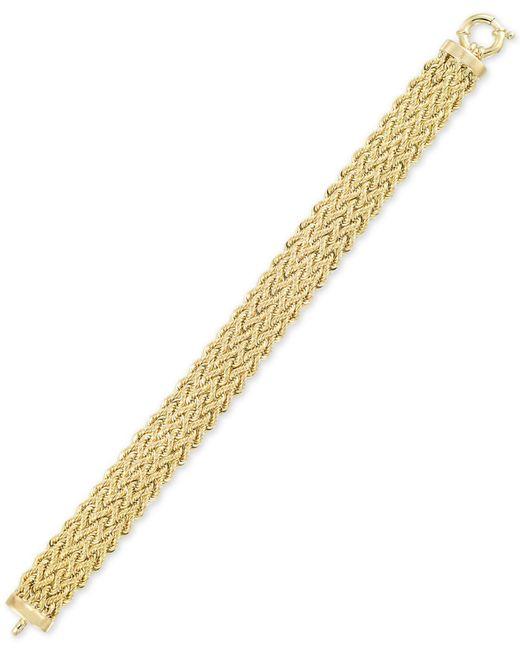 Macy's - Metallic Woven Wide Link Bracelet In 10k Gold - Lyst
