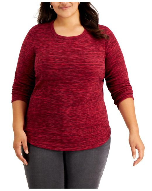 Karen Scott Red Plus Size Space-dyed Microfleece Top, Created For Macy's