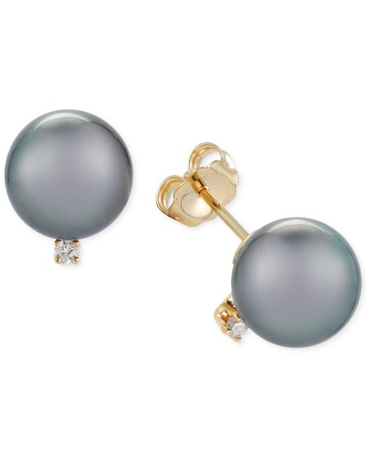 Macy's - Gray Cultured Tahitian Pearl (9mm) And Diamond Accent Stud Earrings - Lyst