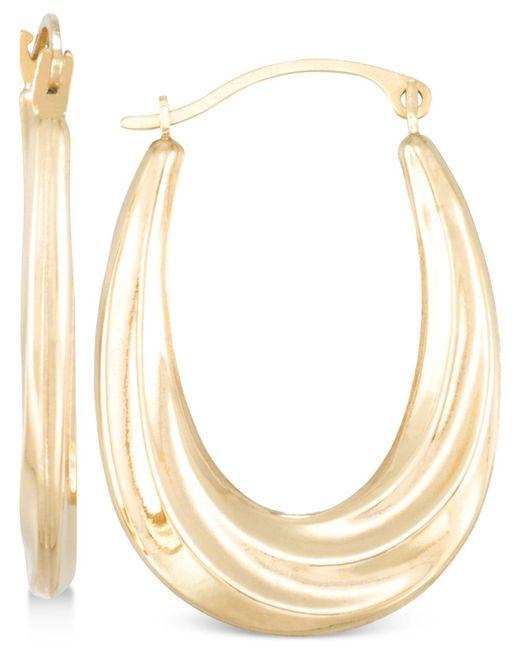 Macy's | Metallic Draped-look Oval Hoop Earrings In 10k Gold | Lyst