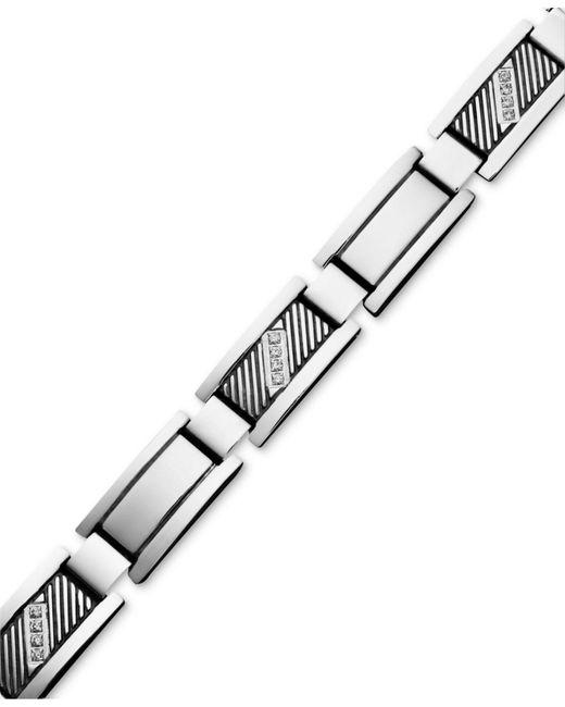 Macy's - Multicolor Men's Diamond Rectangle Link Bracelet In Stainless Steel (1/10 Ct. T.w.) - Lyst