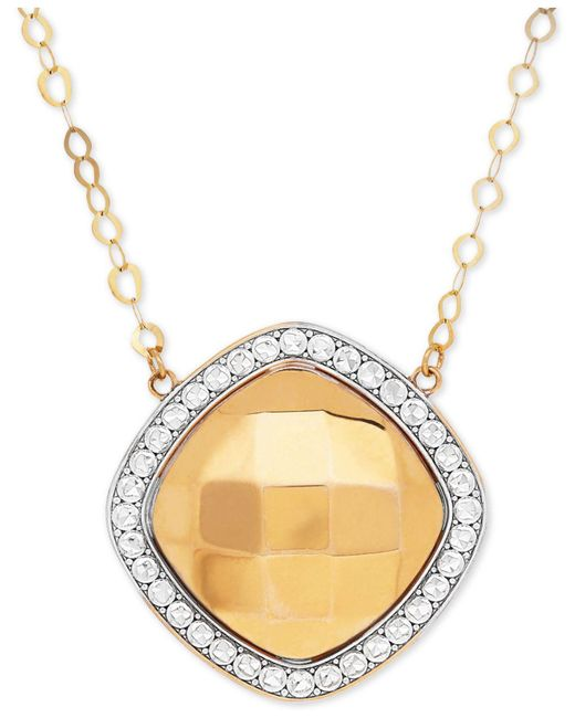 Macy's - Metallic Polished And Beaded Halo Pendant Necklace In 10k Gold And Rhodium-plate - Lyst