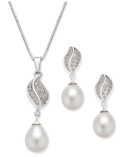Macy's - Metallic Cultured Freshwater Pearl (7x9mm) And Cubic Zirconia Pendant Necklace And Matching Drop Earrings Set In Sterling Silver - Lyst