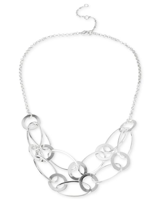 Touch Of Silver | Metallic Frontal Link Necklace In Silver-plated Metal | Lyst