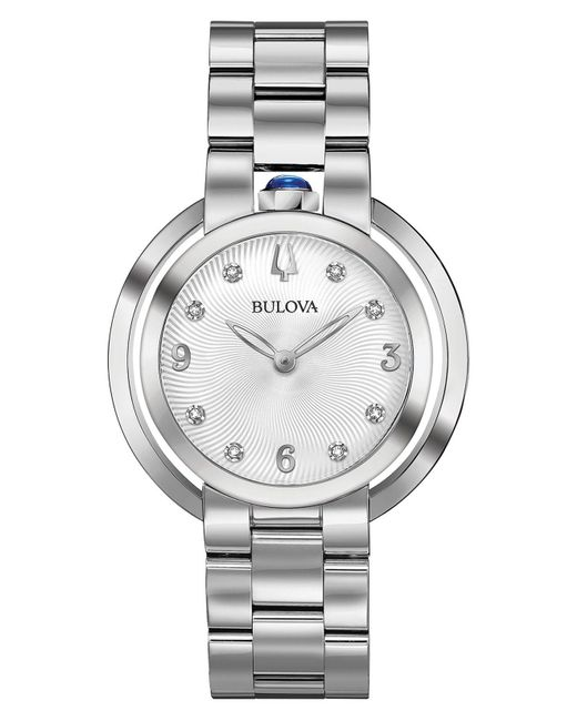 Bulova - Metallic Women's Rubaiyat Diamond-accent Stainless Steel Bracelet Watch 35mm - Lyst