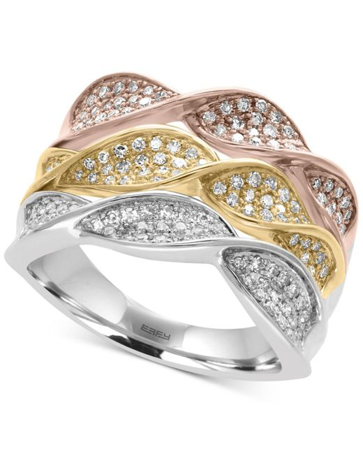 Effy Collection | Metallic Diamond Pavé Twist Ring (5/8 Ct. T.w.) In 14k White, Yellow And Rose Gold | Lyst