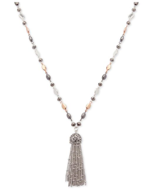 Nine West - Tri-tone Metallic Bead Long Tassel Pendant Necklace - Lyst