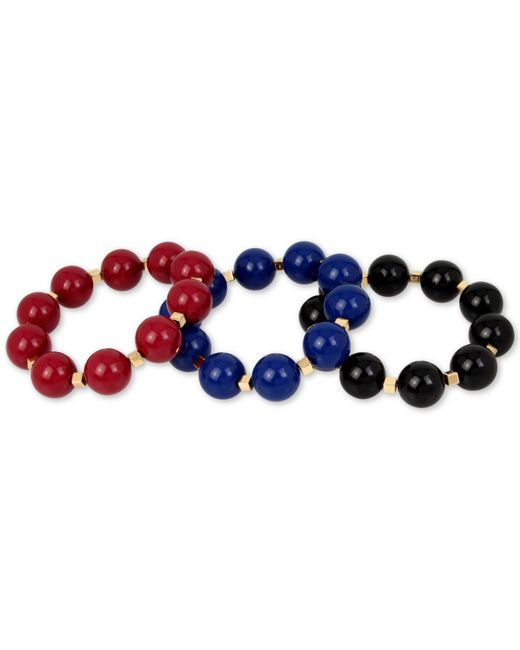 INC International Concepts | Blue Gold-tone 3-pc Set Large Beaded Stretch Bracelets | Lyst