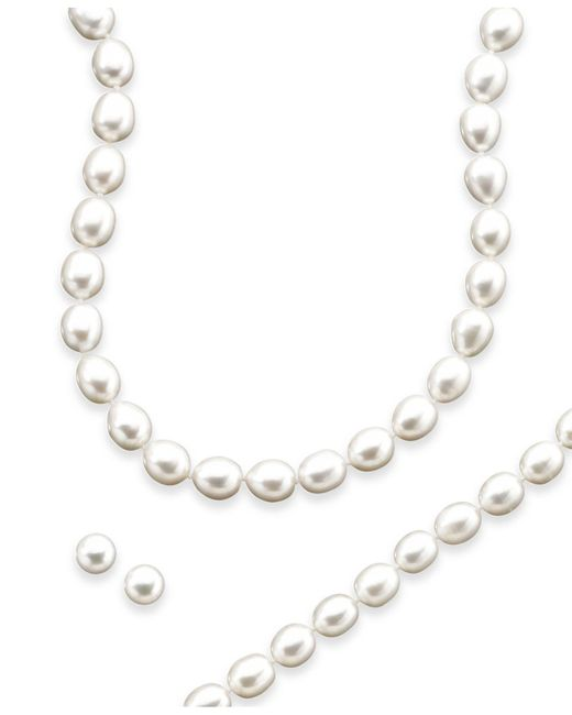Macy's - Metallic Sterling Silver Cultured Freshwater Pearl Necklace, Bracelet And Earring Set - Lyst