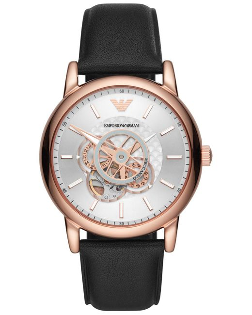 Emporio Armani Automatic Black Leather Strap Watch 43mm for men