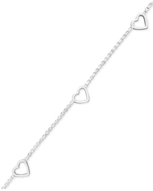 Giani Bernini - Metallic Sterling Silver Bracelet, Open Heart Station Chain - Lyst