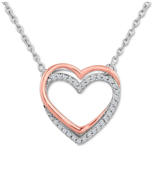 Macy's - Metallic Diamond (1/10 Ct. T.w.) Double Heart Pendant Necklace In Sterling Silver With 14k Rose Gold Accents - Lyst