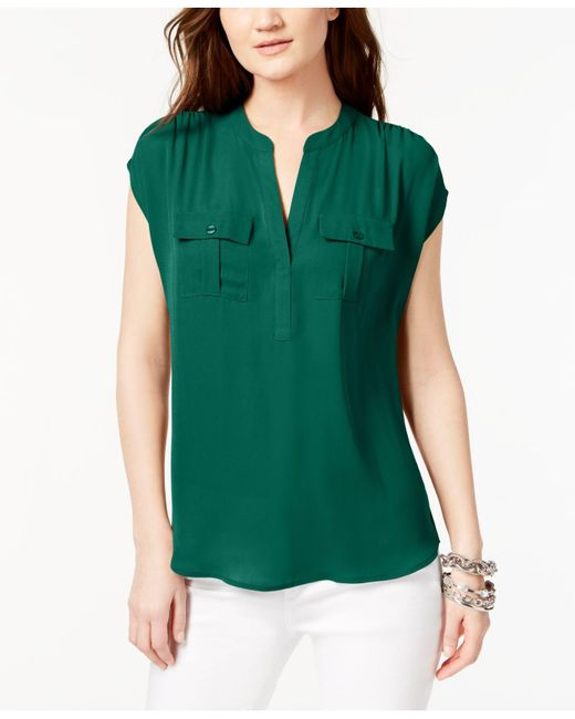 INC International Concepts - Green Dolman-sleeve Mixed-media Utility Shirt - Lyst
