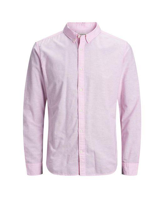 Jack & Jones Pink Essential Linen Summer Shirt for men