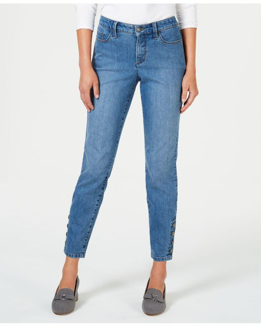 Charter Club - Blue Tummy-control Button Hem Ankle-length Skinny Jeans, Created For Macy's - Lyst