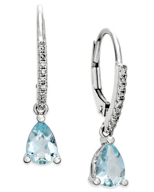 Macy's - Blue Aquamarine (1-1/10 Ct. T.w.) And Diamond (1/10 Ct. T.w.) Drop Earrings 14k White Gold - Lyst