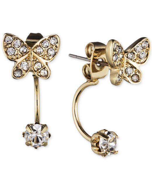 Lonna & Lilly - Metallic Gold-tone Crystal Butterfly Front-back Earrings - Lyst