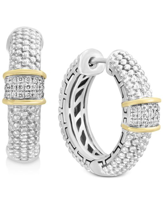 Effy Collection - Metallic Balissima By Effy® Diamond Cluster Beaded Hoop Earrings (1/8 Ct. T.w.)in Sterling Silver & 18k Gold - Lyst