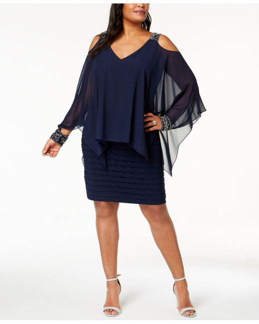 Betsy & Adam Blue Plus Size Cold-shoulder Popover Dress
