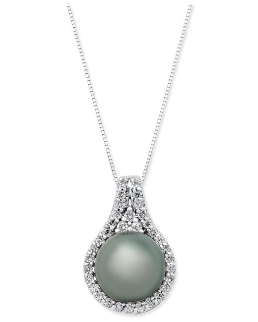 Macy's | Metallic Cultured Tahitian Pearl (11mm) And Diamond (1/2 Ct. T.w.) Pendant Necklace In 14k White Gold | Lyst