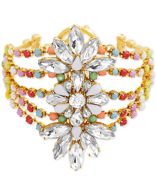 Steve Madden - Metallic Gold-tone Crystal & Bead Floral Multi-row Bangle Bracelet - Lyst
