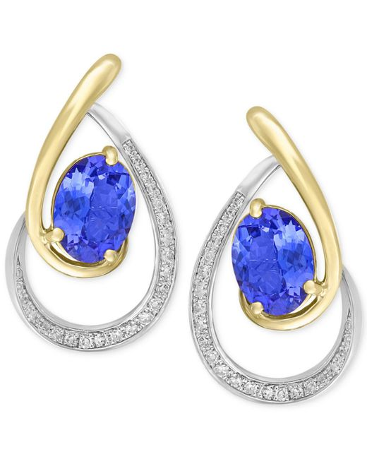 Effy Collection - Blue Tanzanite (1-1/3 Ct. T.w.) & Diamond (1/6 Ct. T.w.) Drop Earrings In 14k Gold & White Gold - Lyst