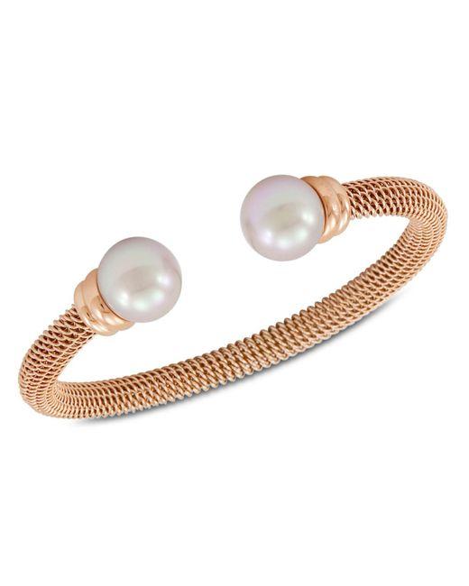 Majorica Multicolor Bracelet, Organic Man Made Pearl And Rose Gold-tone Stainless Steel Bangle Bracelet