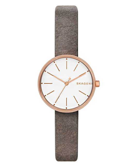 Skagen - Women's Signatur Gray Leather Strap Watch 30mm - Lyst