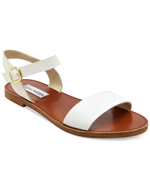 Steve Madden White Donddi Flat Sandals