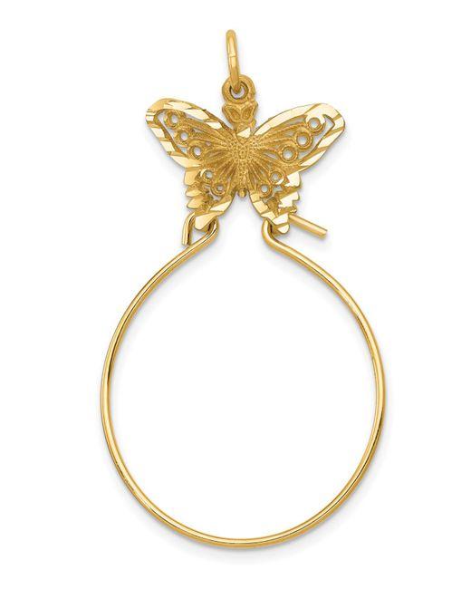 Macy's Metallic Butterfly Holder Charm In 14k Yellow Gold