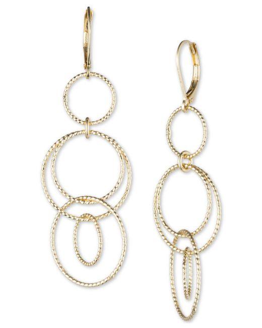 Anne Klein   Metallic Open Circle Triple Drop Earrings   Lyst