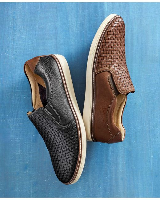 Johnston & Murphy Black Men's Mcguffey Woven Slip-on Loafers for men