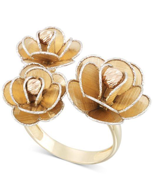Macy's Metallic Tri-colour Flower Ring In 14k Gold, White Gold & Rose Gold