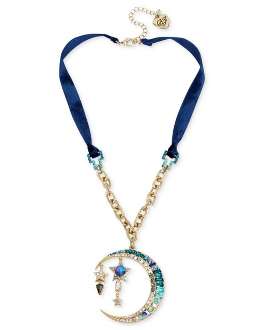 Betsey Johnson | Celestial Blue Moon Pendant Necklace | Lyst